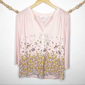 Market & Spruce Pink Floral Button Up Blouse M New